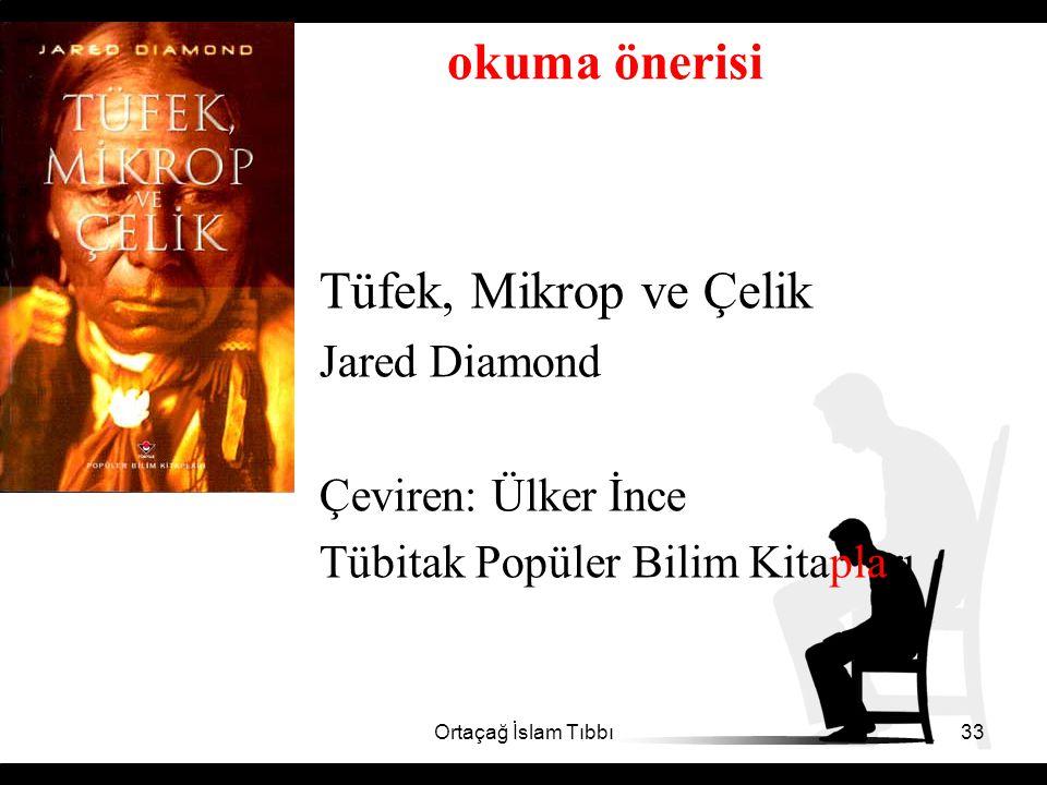 okuma önerisi Tüfek, Mikrop ve Çelik Jared Diamond Çeviren: Ülker İnce Tübitak Popüler Bilim Kitapları Ortaçağ İslam Tıbbı33