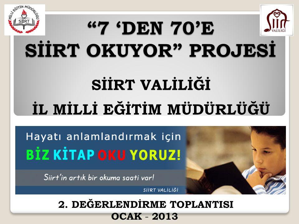 Sayın Cumhurbaşkanımız Abdullah GÜL'ün başlattığı 'Türkiye Okuyor' kampanyası ile İlimizde Sayın Valimiz Ahmet AYDIN 'ın talimatıyla 7'den 70'e Siirt Okuyor projesi tüm Siirt Halkının desteği ile devam etmektedir.
