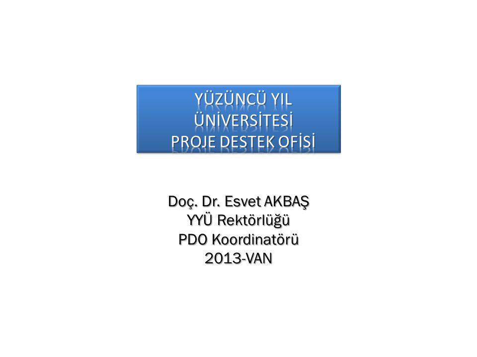Doç. Dr. Esvet AKBAŞ YYÜ Rektörlüğü PDO Koordinatörü 2013-VAN