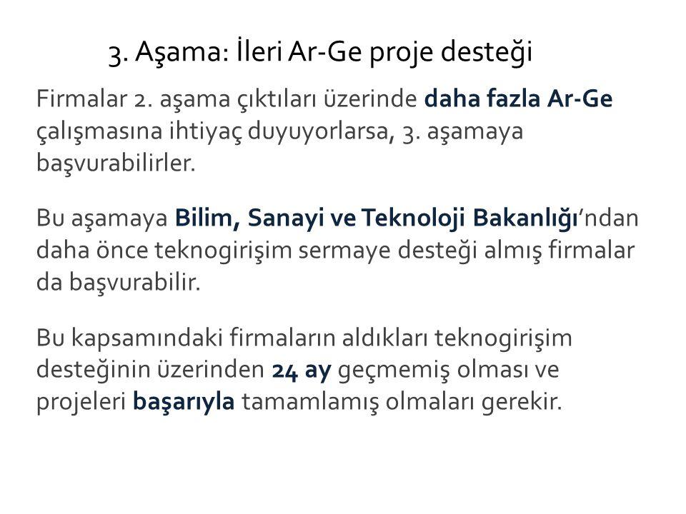 3. Aşama: İleri Ar-Ge proje desteği Firmalar 2.