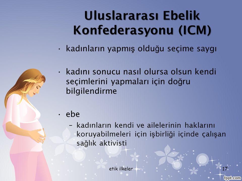 Uluslararası Ebelik Konfederasyonu (ICM) kadınların yapmı ş oldu ğ u seçime saygı kadını sonucu nasıl olursa olsun kendi seçimlerini yapmaları için do