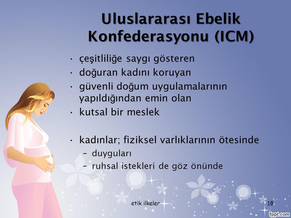 Uluslararası Ebelik Konfederasyonu (ICM) çe ş itlili ğ e saygı gösteren do ğ uran kadını koruyan güvenli do ğ um uygulamalarının yapıldı ğ ından emin