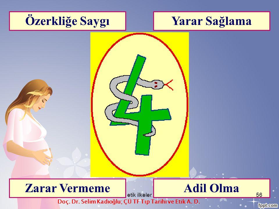 Özerkliğe Saygı Zarar Vermeme Yarar Sağlama Adil Olma Doç. Dr. Selim Kadıoğlu; ÇÜ TF Tıp Tarihi ve Etik A. D. etik ilkeler56