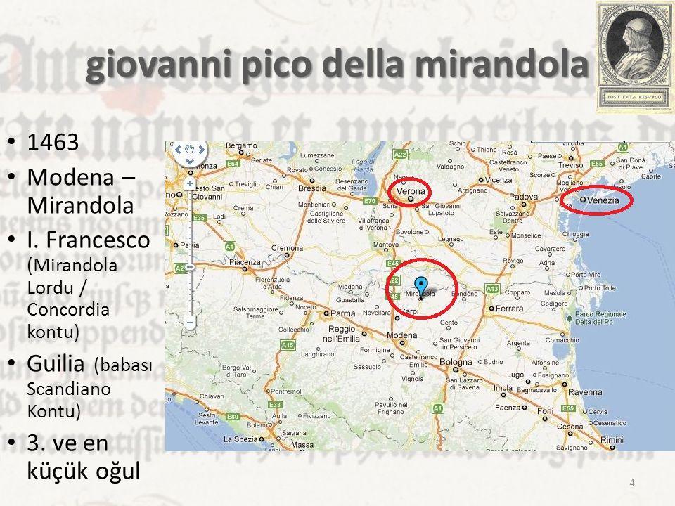 giovanni pico della mirandola 1463 Modena – Mirandola I. Francesco (Mirandola Lordu / Concordia kontu) Guilia (babası Scandiano Kontu) 3. ve en küçük