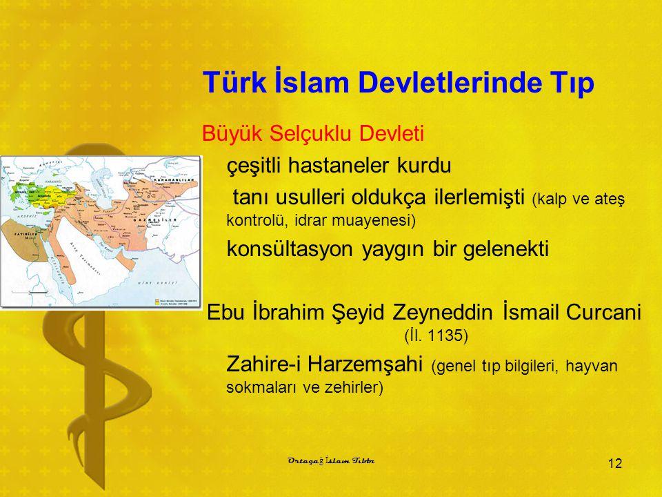 Türk İslam Devletlerinde Tıp Büyük Selçuklu Devleti çeşitli hastaneler kurdu tanı usulleri oldukça ilerlemişti (kalp ve ateş kontrolü, idrar muayenesi
