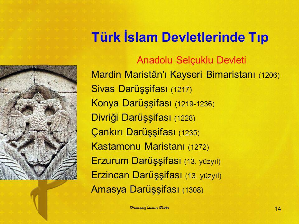 Türk İslam Devletlerinde Tıp Anadolu Selçuklu Devleti Mardin Maristân ı Kayseri Bimaristanı (1206) Sivas Darüşşifası (1217) Konya Darüşşifası (1219-1236) Divriği Darüşşifası (1228) Çankırı Darüşşifası (1235) Kastamonu Maristanı (1272) Erzurum Darüşşifası (13.