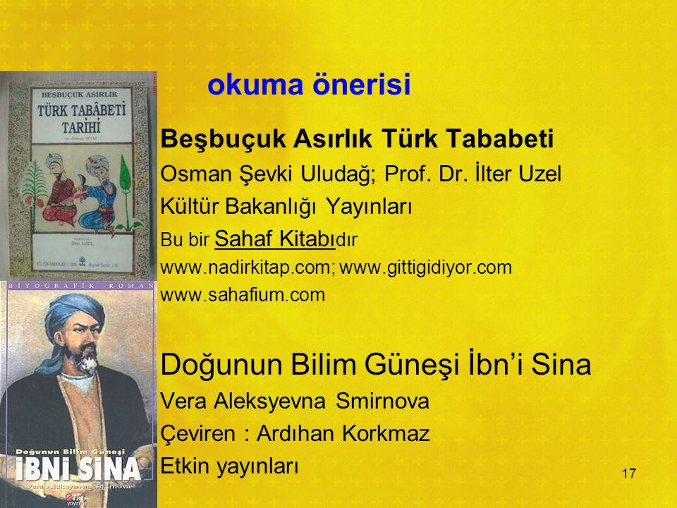 okuma önerisi Beşbuçuk Asırlık Türk Tababeti Osman Şevki Uludağ; Prof.