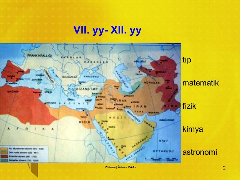 VII. yy- XII. yy tıp matematik fizik kimya astronomi 2 Ortaça ğ İ slam Tıbbı