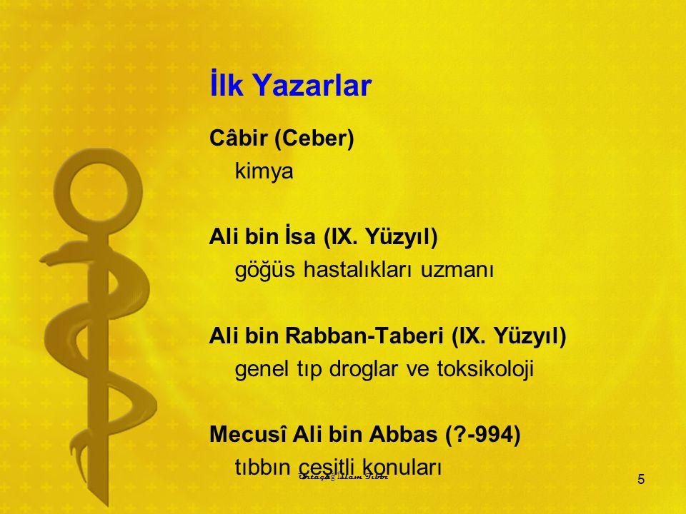 İlk Yazarlar Câbir (Ceber) kimya Ali bin İsa (IX. Yüzyıl) göğüs hastalıkları uzmanı Ali bin Rabban-Taberi (IX. Yüzyıl) genel tıp droglar ve toksikoloj