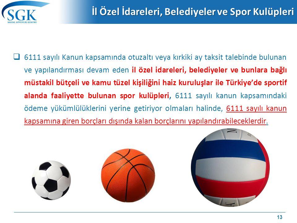 İl Özel İdareleri, Belediyeler ve Spor Kulüpleri  6111 sayılı Kanun kapsamında otuzaltı veya kırkiki ay taksit talebinde bulunan ve yapılandırması de