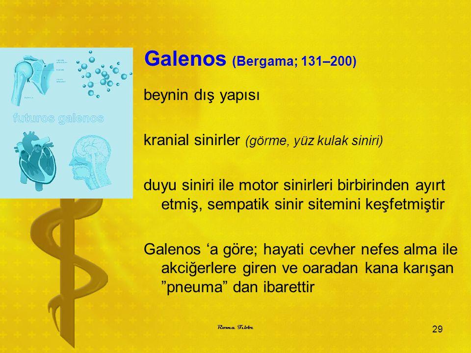 Galenos (Bergama; 131–200) beynin dış yapısı kranial sinirler (görme, yüz kulak siniri) duyu siniri ile motor sinirleri birbirinden ayırt etmiş, sempa