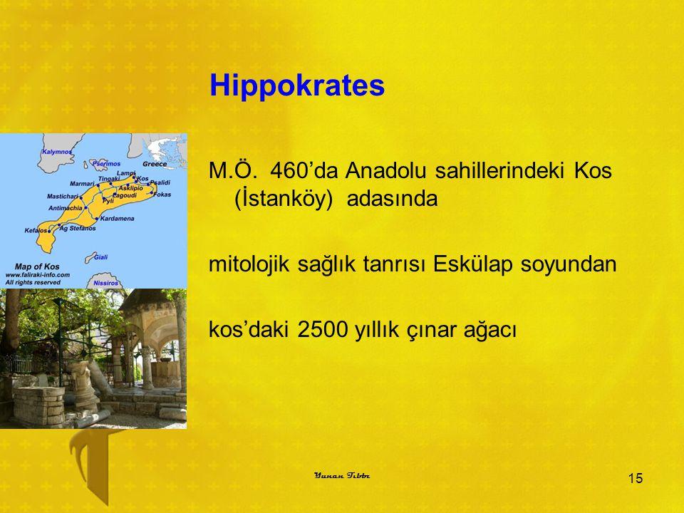Hippokrates M.Ö. 460'da Anadolu sahillerindeki Kos (İstanköy) adasında mitolojik sağlık tanrısı Eskülap soyundan kos'daki 2500 yıllık çınar ağacı 15 Y