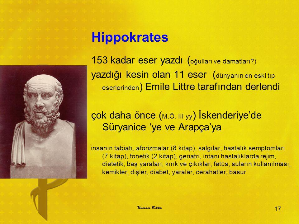 Hippokrates 153 kadar eser yazdı ( oğulları ve damatları?) yazdığı kesin olan 11 eser ( dünyanın en eski tıp eserlerinden ) Emile Littre tarafından de