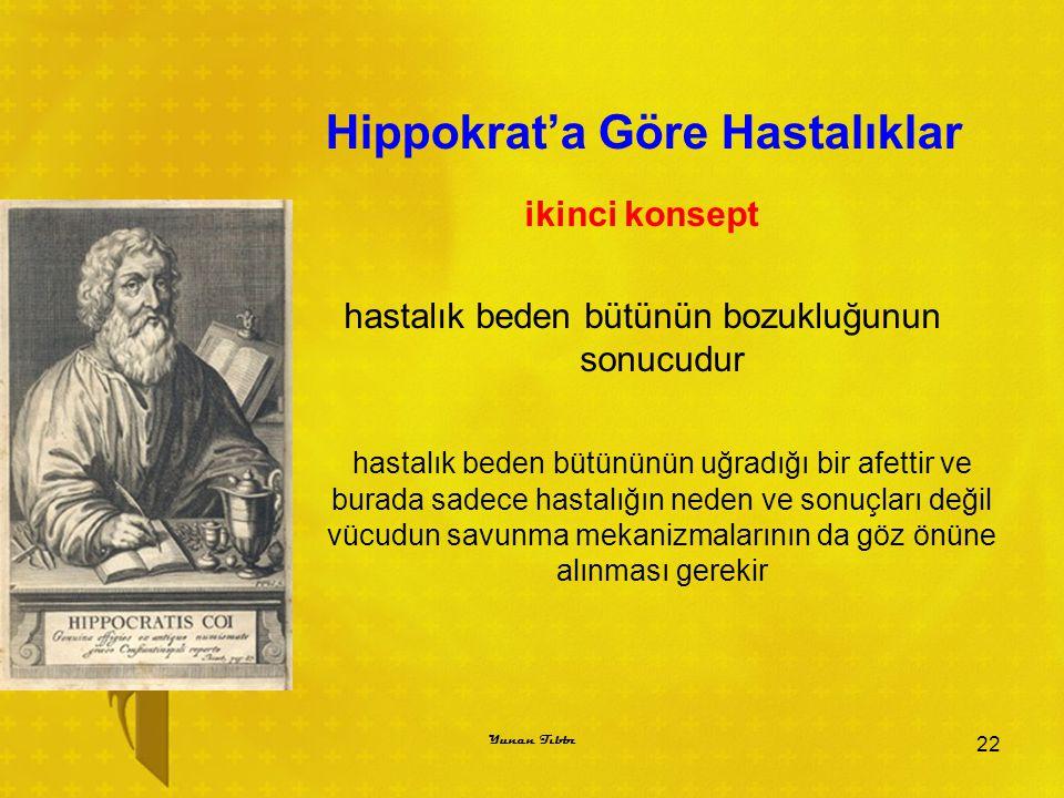 Hippokrat'a Göre Hastalıklar ikinci konsept hastalık beden bütünün bozukluğunun sonucudur hastalık beden bütününün uğradığı bir afettir ve burada sade