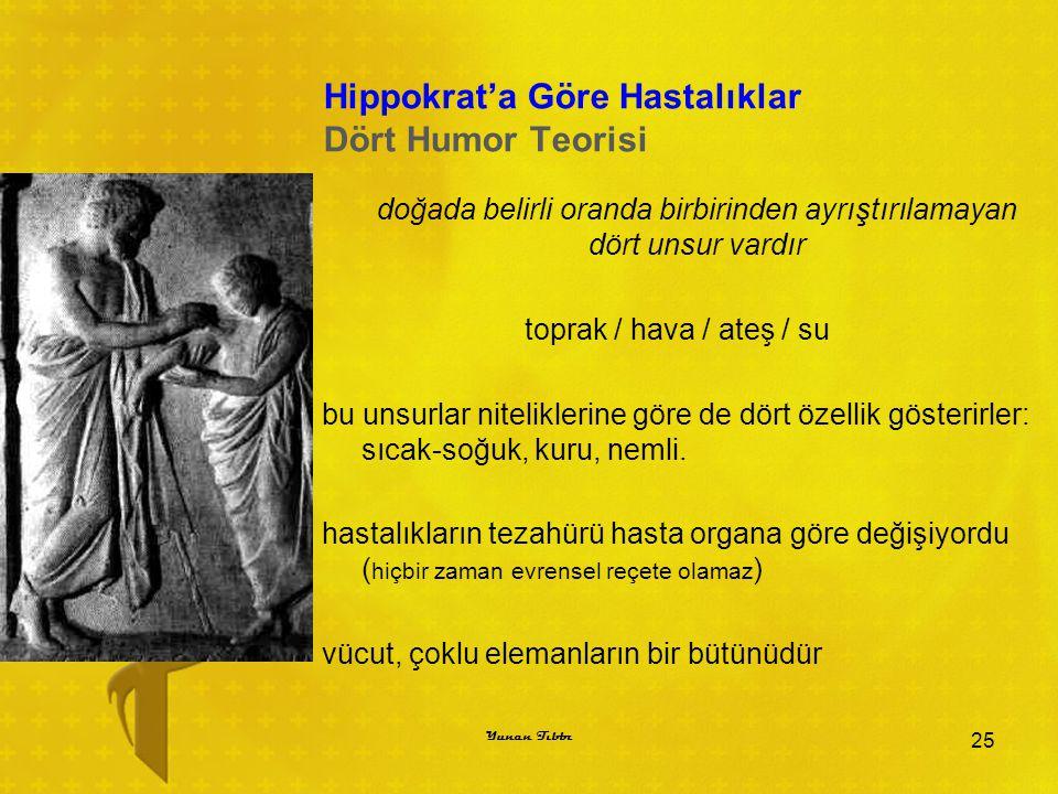 Hippokrat'a Göre Hastalıklar Dört Humor Teorisi doğada belirli oranda birbirinden ayrıştırılamayan dört unsur vardır toprak / hava / ateş / su bu unsu