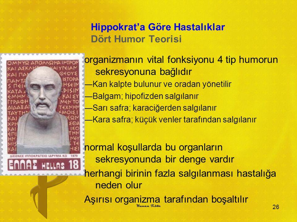 Hippokrat'a Göre Hastalıklar Dört Humor Teorisi organizmanın vital fonksiyonu 4 tip humorun sekresyonuna bağlıdır —Kan kalpte bulunur ve oradan yöneti