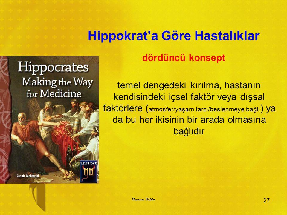 Hippokrat'a Göre Hastalıklar dördüncü konsept temel dengedeki kırılma, hastanın kendisindeki içsel faktör veya dışsal faktörlere ( atmosfer/yaşam tarz