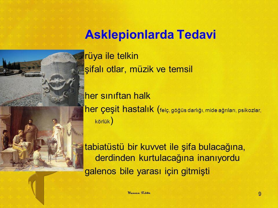 Asklepionlarda Tedavi BÜTÜN TANRILARIN ULULUĞU İÇİN MUKADDES YERE ÖLÜMÜN GİRMESİ YASAKTIR 10 Yunan Tıbbı