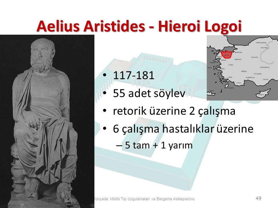 Aelius Aristides - Hieroi Logoi Antik Dünyada Mistik Tıp Uygulamaları ve Bergama Asklepieionu 49 117-181 55 adet söylev retorik üzerine 2 çalışma 6 ça