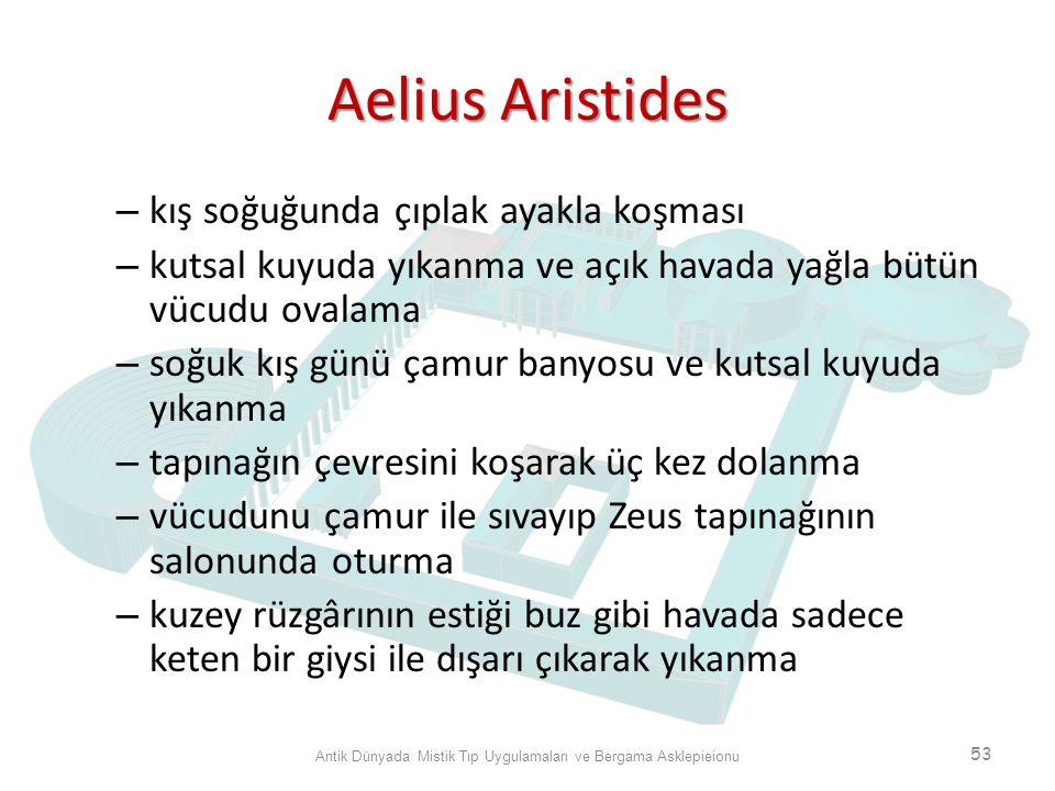 Aelius Aristides – kış soğuğunda çıplak ayakla koşması – kutsal kuyuda yıkanma ve açık havada yağla bütün vücudu ovalama – soğuk kış günü çamur banyos