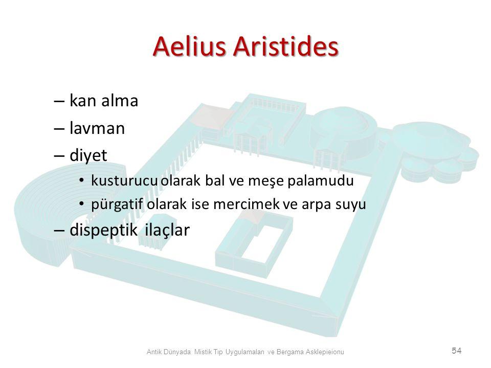 Aelius Aristides – kan alma – lavman – diyet kusturucu olarak bal ve meşe palamudu pürgatif olarak ise mercimek ve arpa suyu – dispeptik ilaçlar Antik