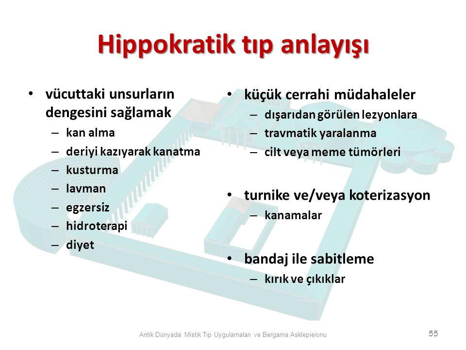 Hippokratik tıp anlayışı vücuttaki unsurların dengesini sağlamak – kan alma – deriyi kazıyarak kanatma – kusturma – lavman – egzersiz – hidroterapi –