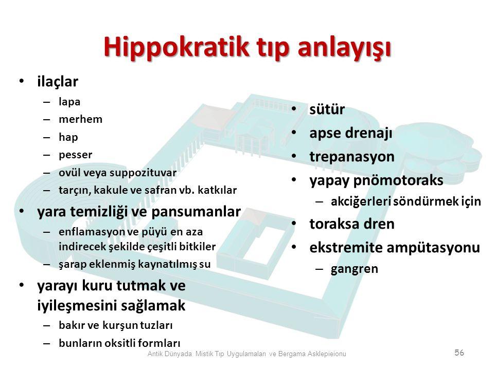 Hippokratik tıp anlayışı ilaçlar – lapa – merhem – hap – pesser – ovül veya suppozituvar – tarçın, kakule ve safran vb. katkılar yara temizliği ve pan