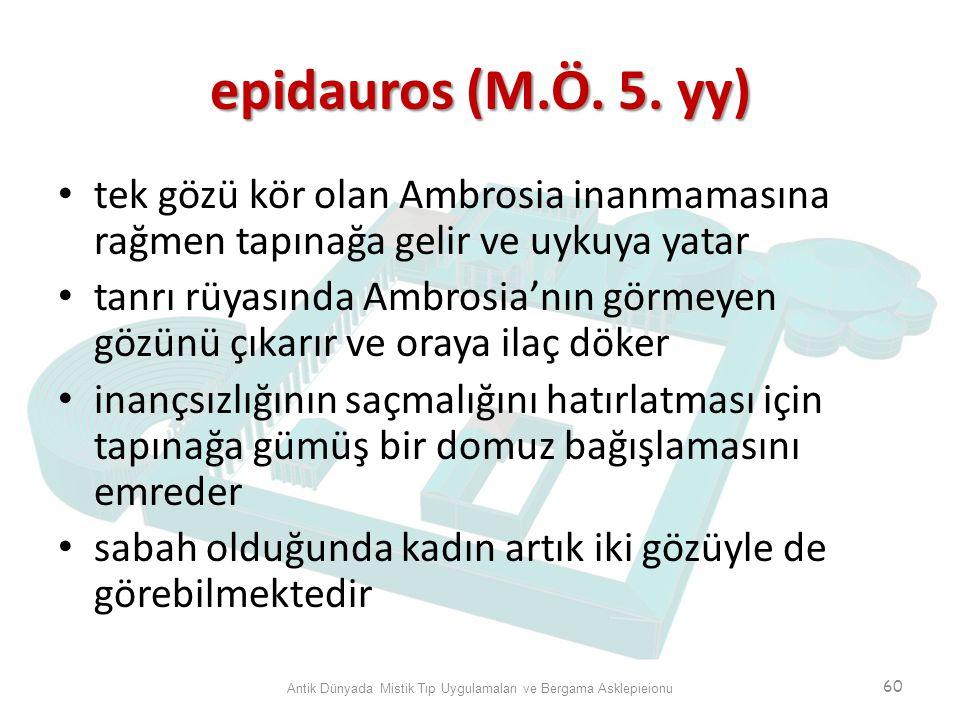 epidauros (M.Ö. 5. yy) tek gözü kör olan Ambrosia inanmamasına rağmen tapınağa gelir ve uykuya yatar tanrı rüyasında Ambrosia'nın görmeyen gözünü çıka