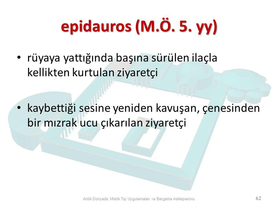 epidauros (M.Ö. 5. yy) rüyaya yattığında başına sürülen ilaçla kellikten kurtulan ziyaretçi kaybettiği sesine yeniden kavuşan, çenesinden bir mızrak u