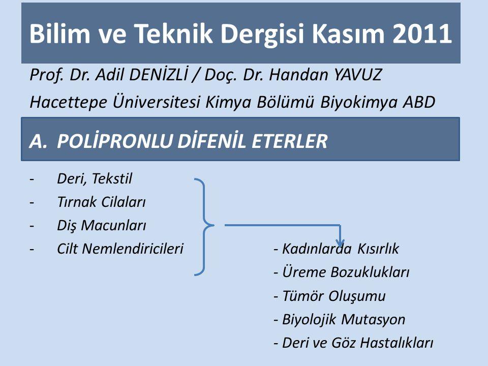Bilim ve Teknik Dergisi Kasım 2011 Prof.Dr. Adil DENİZLİ / Doç.