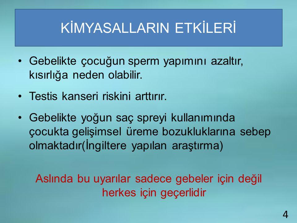 15000 Kişisel bakım ürününün %90'ında fazlası güvenilirlik açısından araştırılmamıştır Türkiye'de kontrol mekanizmaları çalışmamaktadır. Kozmetiklerde