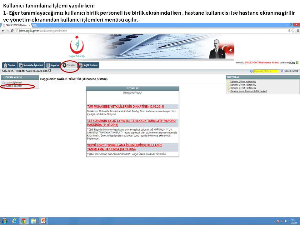 Kullanıcı Tanımlama ve yetkilendirme işlemi anlatılan şekilde yapılmaktadır.