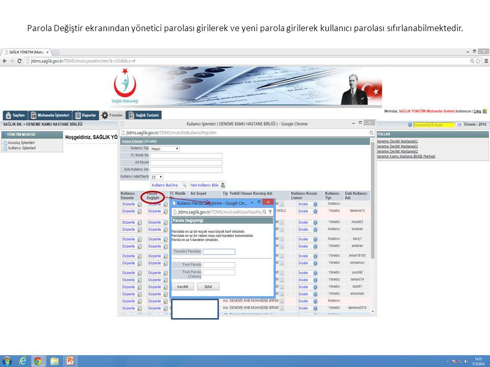 Parola Değiştir ekranından yönetici parolası girilerek ve yeni parola girilerek kullanıcı parolası sıfırlanabilmektedir.