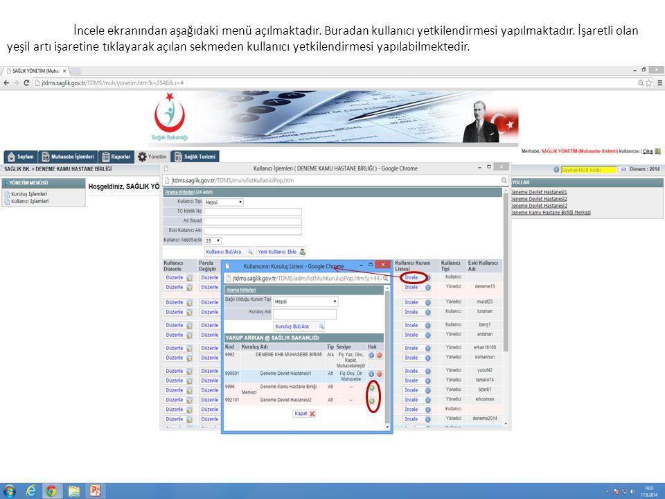 İncele ekranından aşağıdaki menü açılmaktadır. Buradan kullanıcı yetkilendirmesi yapılmaktadır.