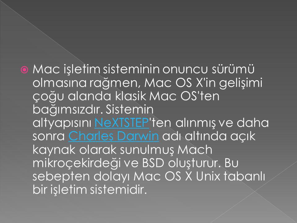  Mac işletim sisteminin onuncu sürümü olmasına rağmen, Mac OS X'in gelişimi çoğu alanda klasik Mac OS'ten bağımsızdır. Sistemin altyapısını NeXTSTEP'
