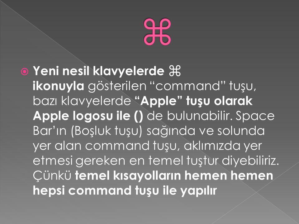 """ Yeni nesil klavyelerde ⌘ ikonuyla gösterilen """"command"""" tuşu, bazı klavyelerde """"Apple"""" tuşu olarak Apple logosu ile () de bulunabilir. Space Bar'ın ("""