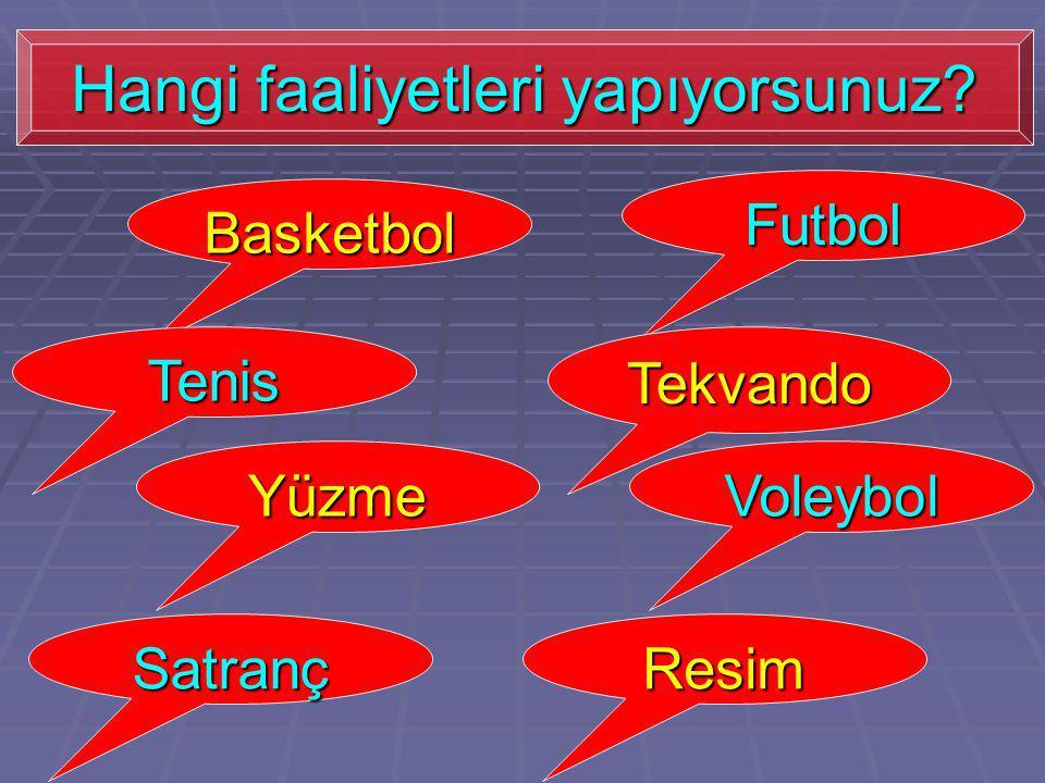 Basketbol Futbol Tenis Yüzme Satranç Tekvando Voleybol Resim Hangi faaliyetleri yapıyorsunuz?