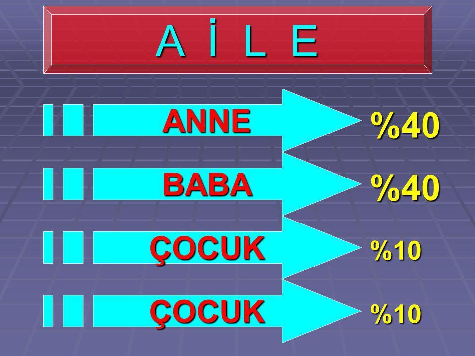 A İ L E ANNE BABA ÇOCUK ÇOCUK %40 %40 %10 %10