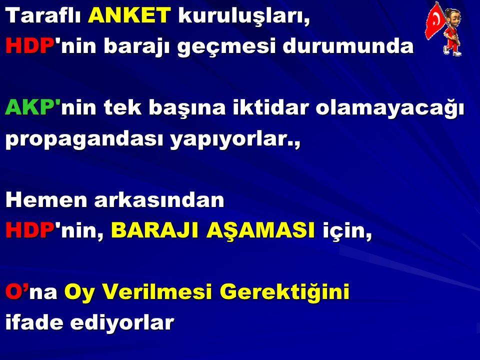 Taraflı ANKET kuruluşları, HDP'nin barajı geçmesi durumunda AKP'nin tek başına iktidar olamayacağı propagandası yapıyorlar., Hemen arkasından HDP'nin,