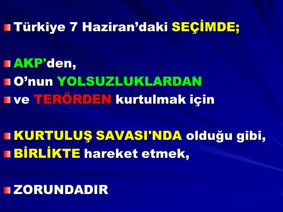 Türkiye 7 Haziran'daki SEÇİMDE; AKP'den, O'nun YOLSUZLUKLARDAN ve TERÖRDEN kurtulmak için KURTULUŞ SAVASI'NDA olduğu gibi, BİRLİKTE hareket etmek, ZOR