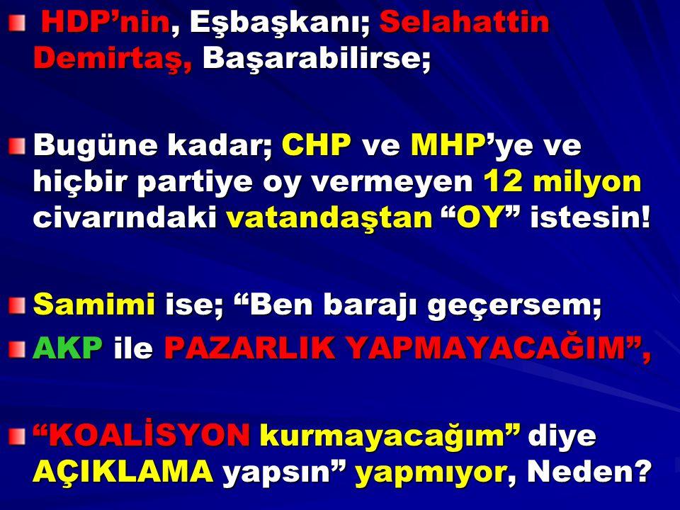 HDP'nin, Eşbaşkanı; Selahattin Demirtaş, Başarabilirse; HDP'nin, Eşbaşkanı; Selahattin Demirtaş, Başarabilirse; Bugüne kadar; CHP ve MHP'ye ve hiçbir
