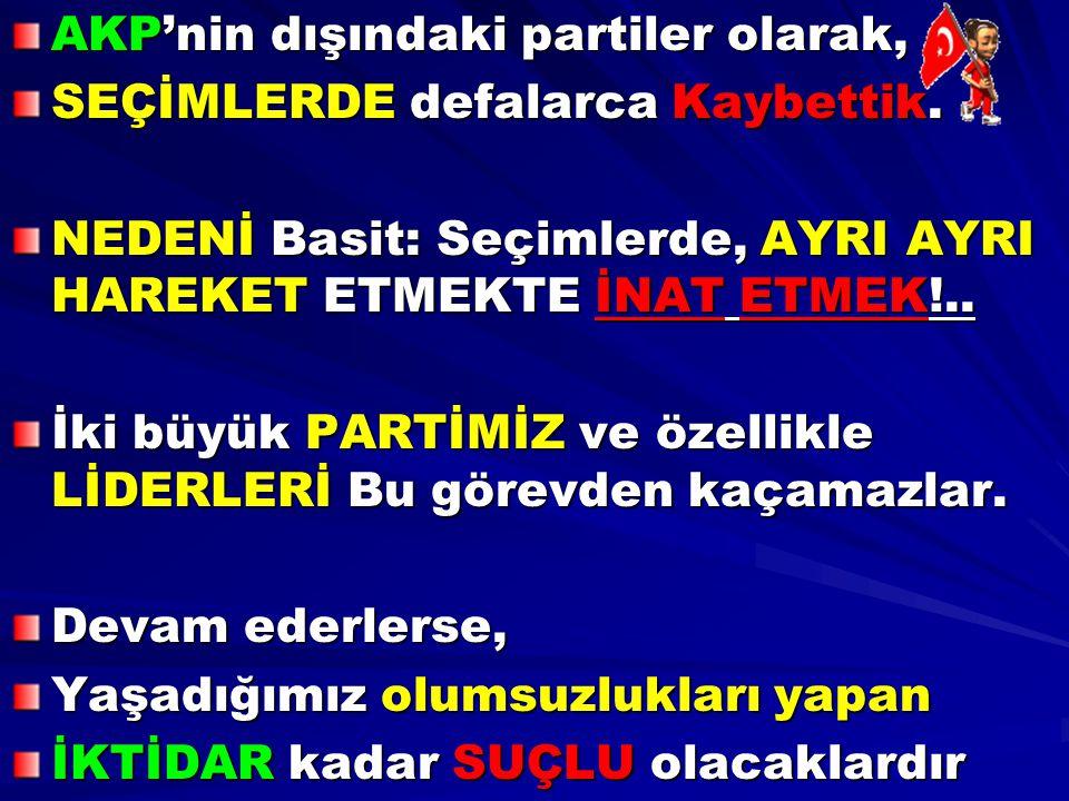 AKP'nin dışındaki partiler olarak, SEÇİMLERDE defalarca Kaybettik. NEDENİ Basit: Seçimlerde, AYRI AYRI HAREKET ETMEKTE İNAT ETMEK!.. İki büyük PARTİMİ