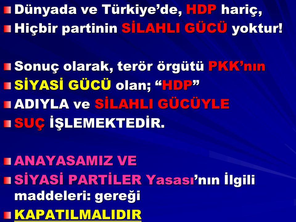 """Dünyada ve Türkiye'de, HDP hariç, Hiçbir partinin SİLAHLI GÜCÜ yoktur! Sonuç olarak, terör örgütü PKK'nın SİYASİ GÜCÜ olan; """"HDP"""" ADIYLA ve SİLAHLI GÜ"""