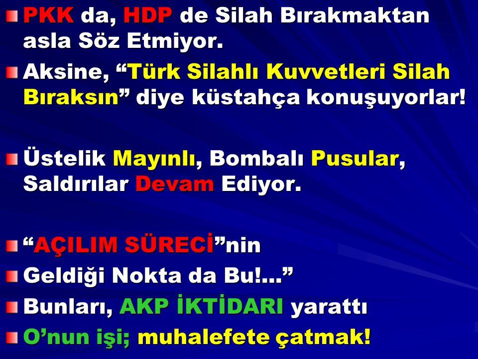 """PKK da, HDP de Silah Bırakmaktan asla Söz Etmiyor. Aksine, """"Türk Silahlı Kuvvetleri Silah Bıraksın"""" diye küstahça konuşuyorlar! Üstelik Mayınlı, Bomba"""