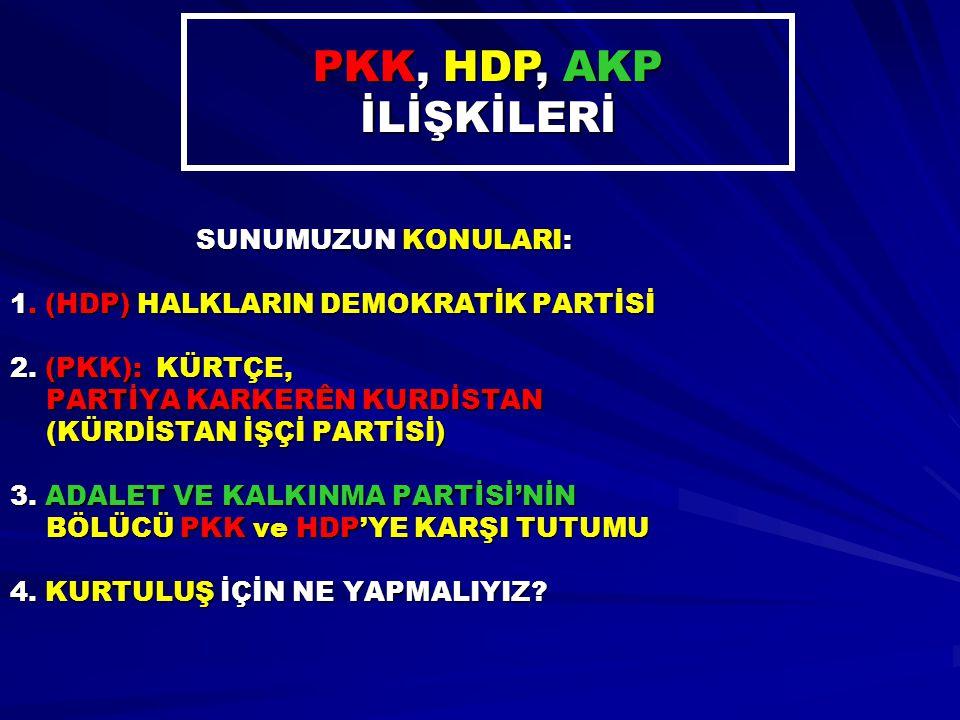 SUNUMUZUN KONULARI: 1. (HDP) HALKLARIN DEMOKRATİK PARTİSİ 2. (PKK): KÜRTÇE, PARTİYA KARKERÊN KURDİSTAN (KÜRDİSTAN İŞÇİ PARTİSİ) 3. ADALET VE KALKINMA