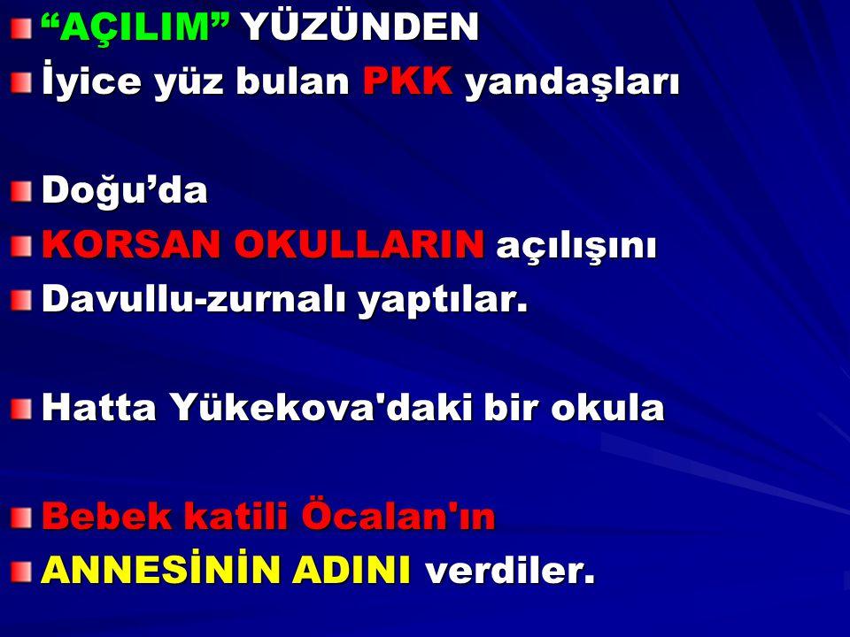 """""""AÇILIM"""" YÜZÜNDEN İyice yüz bulan PKK yandaşları Doğu'da KORSAN OKULLARIN açılışını Davullu-zurnalı yaptılar. Hatta Yükekova'daki bir okula Bebek kati"""