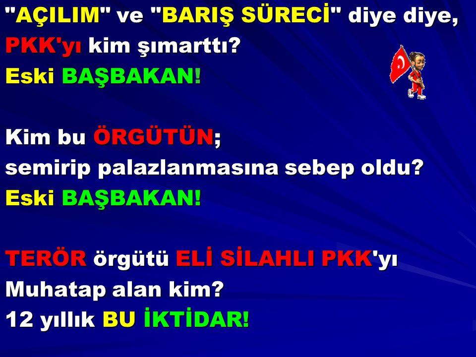 AÇILIM ve BARIŞ SÜRECİ diye diye, PKK yı kim şımarttı.