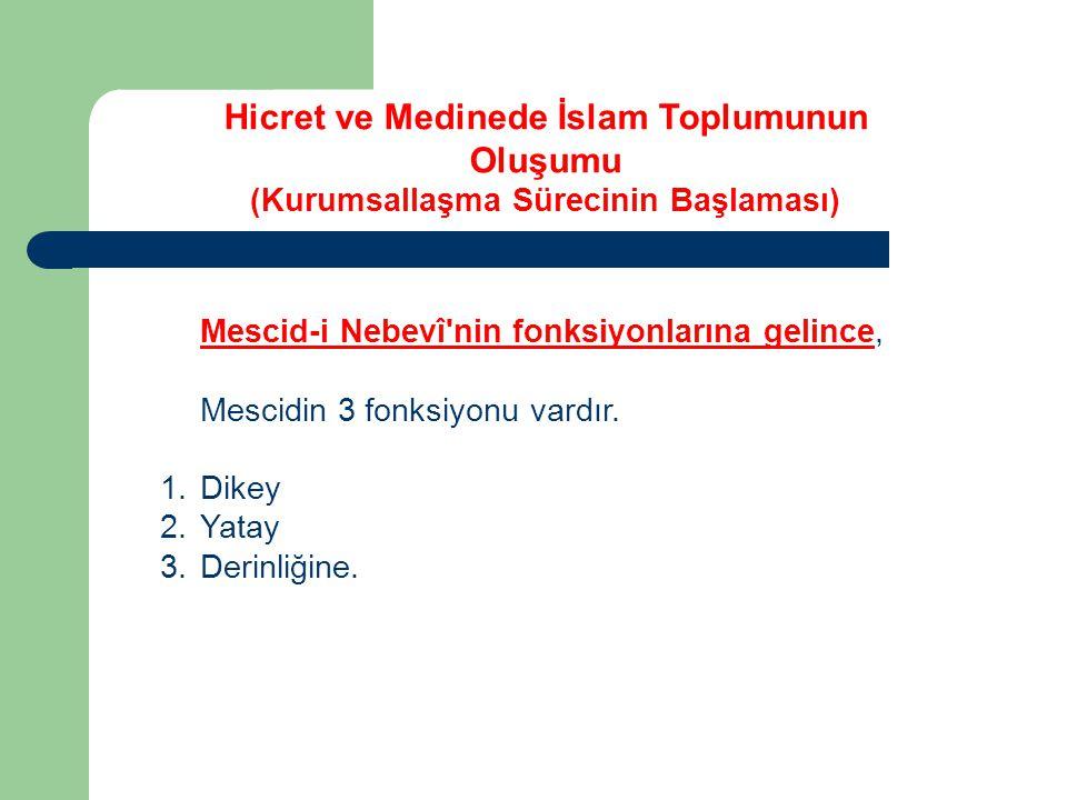 Mescid-i Nebevî'nin fonksiyonlarına gelince, Mescidin 3 fonksiyonu vardır. 1.Dikey 2.Yatay 3.Derinliğine. Hicret ve Medinede İslam Toplumunun Oluşumu