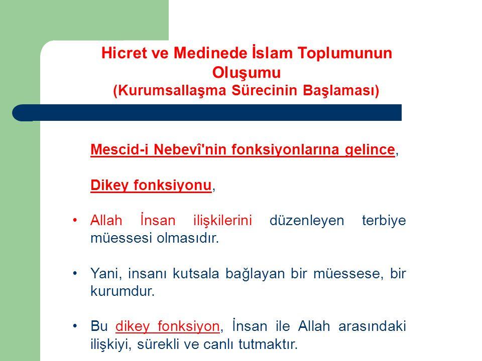 Mescid-i Nebevî'nin fonksiyonlarına gelince, Dikey fonksiyonu, Allah İnsan ilişkilerini düzenleyen terbiye müessesi olmasıdır. Yani, insanı kutsala ba