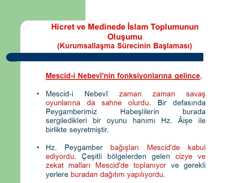 Mescid-i Nebevî'nin fonksiyonlarına gelince, Mescid-i Nebevî zaman zaman savaş oyunlarına da sahne olurdu. Bir defasında Peygamberimiz Habeşlilerin bu